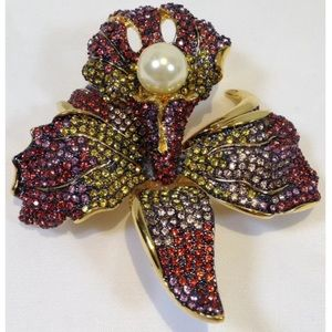 Joan Rivers ORCHID Flower Pave Brooch Faux Pearl
